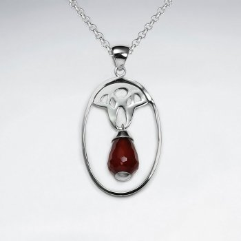 Oval Silver Pendant With Dangling Drop Carnelian At Center