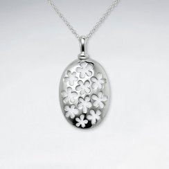Oval Silver Pendant With Flower Cutout