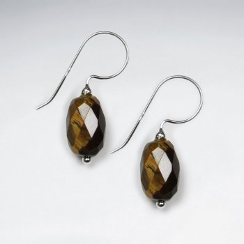 Oval Tiger Eye Faceted Silver Dangling Earring