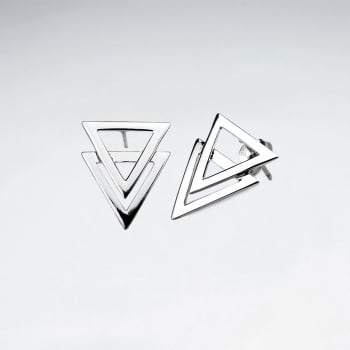 Overlapping Triangular Openwork Silver Stud Earrings