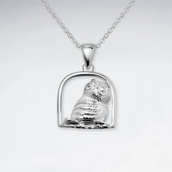 Owl In Cage Silver Pendant