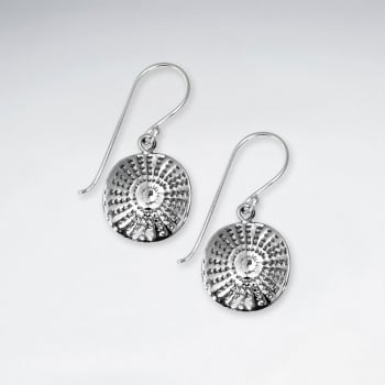 Oxidized Aztec Inspired Round Handmade Silver Earrings