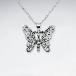 Oxidized Beautiful Oxidized Silver Filigree Butterfly Pendant