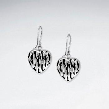 Oxidized Big Heart Filigree Dangle Earrings