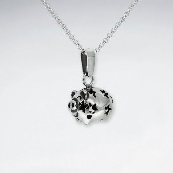 Oxidized Charming Oxidized Silver Pig Pendant