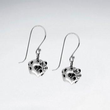 Oxidized Claw-Style Dangle Drop Shepherds Hook Earrings