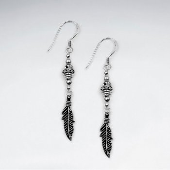 Oxidized Clustered Bead Feather Silver Earring