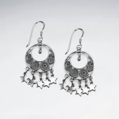 Oxidized Crescent Circle Design With Dangled Charms