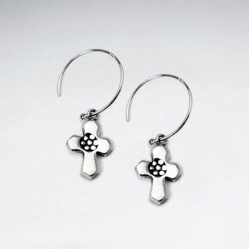 Oxidized Cross Dangling Silver Earring