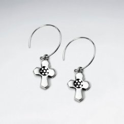 Oxidized Cross Dangling Silver Earring