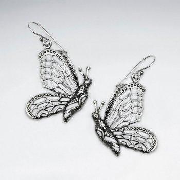 Oxidized Cutout Silver Butterfly Profile Drop Dangle Earrings