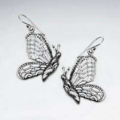 Oxidized Cutout Silver Butterfly Profile Drop Dangle Earrings