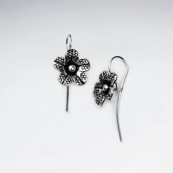 Oxidized Dangle Flower Hook Earrings