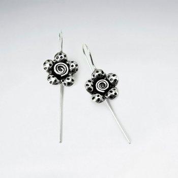 Oxidized Dapple Textured Blossom Flower Hook Earrings
