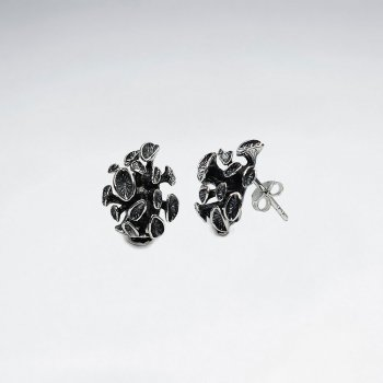 Oxidized Delicate Floral Blossom Stud Earrings