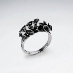 Oxidized Delicate Floral Blossom Stud Ring