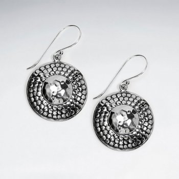 Oxidized Dimpled Dusk Accent Circle Disc Drop Dangle Earrings