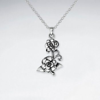 Oxidized Double Silver Rose Cutout Elegant Flower Pendant