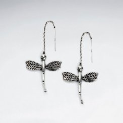 Oxidized Dragonfly Antique Silver Earring
