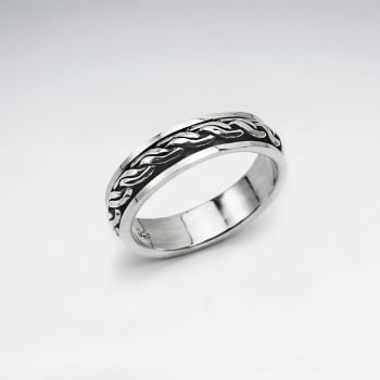 Oxidized Edged Smooth Silver Band