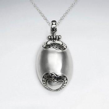 Oxidized Egg Shape Polished Silver Ornate Heart Shapes Pendant