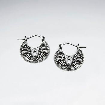 Oxidized Equisite Saddleback Clasp Filigree Earrings