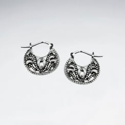 Oxidized Equisite Saddleback Clasp Filigree Earrings