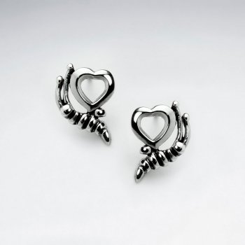 Oxidized Fashionable Open Heart Cradled Design Earrings