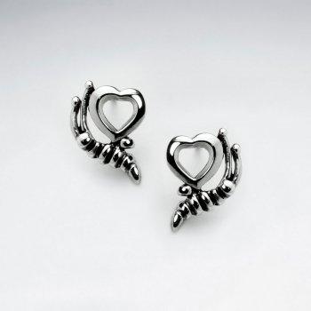 Oxidized Fashionable Open Heart Cradled Design Earrings