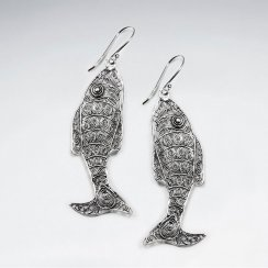 Oxidized Filigree Fish Shaped Textured Dangle Drop Earrings