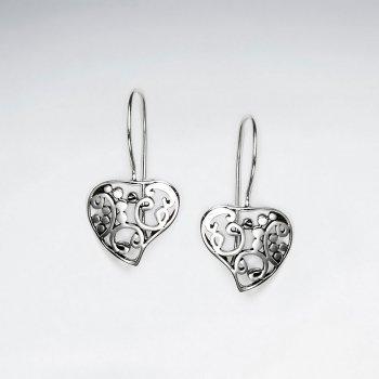 Oxidized Filigree Heart Drop Sterling Silver Earings