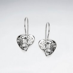 Oxidized Filigree Heart Drop Sterling Silver Earings