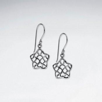 Oxidized Filigree Star Dangle Shepherd Hook Earrings