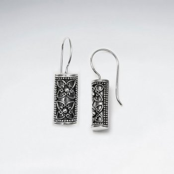 Oxidized Filigree Sterling Silver Rectangle Earrings