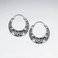 Oxidized Filigree U-Hoop Earrings