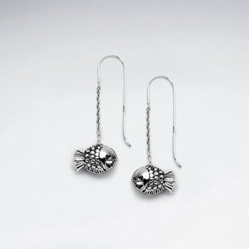 Oxidized Fish Antique Silver Earring