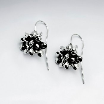 Oxidized Flower Design Drop Earrings in Silver