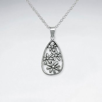 Oxidized Flower Pattern Silver Filigree Teardrop Pendant