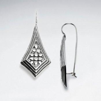 Oxidized Framed Teardrop Diamond Shape Filigree Drop Earrings