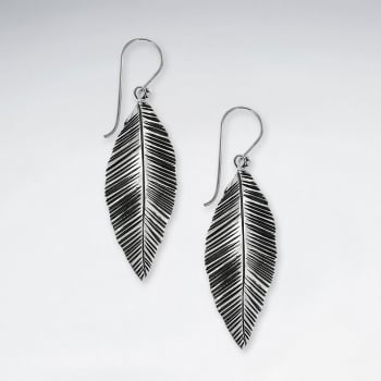 Oxidized Handmade Silver Drop Feather Dangle Earrings