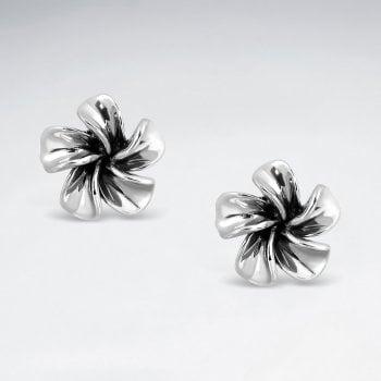 Oxidized Hawaiian Flower Stud Earrings