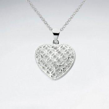 Oxidized Intricate Filigree Oxidized Silver Heart Pendant