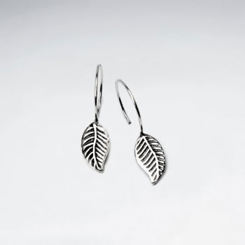 Oxidized Leaf Dangling Silver Earring