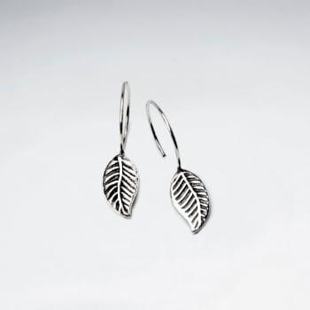 Oxidized Leaf Dangling Silver Earring