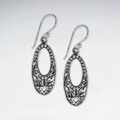 Oxidized Long Oval Open Hoop Textured Dangle Hook Earrings