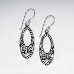 Oxidized Long Oval Open Hoop Textured Dangle Hook Earrings