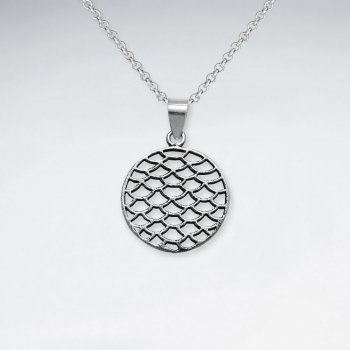 Oxidized Netted Silver Cutout Filigree Circle Disc Pendant