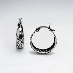 Oxidized Open Circle Hoop Earrings Etched Design
