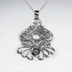 Oxidized Open Design Ornate Organic Pendant