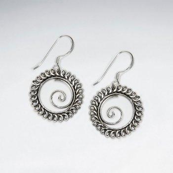 Oxidized Open Oval Earrings with Swirl Design